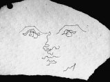 Pen and Ink Drawing of Face  Doodled on Napkin in Restuarant  by Jean Cocteau