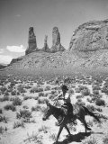 Native American Indian Boy Running His Horse Through Desert