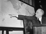 President Franklin D Roosevelt  Pointing to a Map While Giving His Speech During Entry to WWII