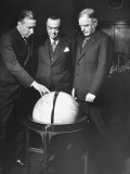 J Edgar Hoover Standing Behind Globe with Col James Churchill and Rear Adm Walter Anderson