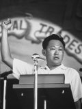 Prime Minister Kuan Yew Lee Speaking During May Day Rally