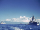 Battleship and Other Ships Taking Part in Us Navy Manuevers Off Hawaii