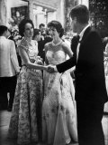 Sen John Kennedy Shaking Hands with Socialite Mrs John Drexel III  at the Benefit Tiffany Ball