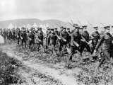 Canadian Troops Marching During Drills at Valcartier Camp after the Outbreak of World War I