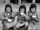 Young Members of &quot;Young Girl&#39;s Training Corps&quot; Eating a Meal