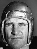 Football Player Sam Baugh of the Washington Redskins  Wearing His Helmet
