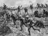 British Troops Rushing German Positions During One of the Battles for the Somme During World War I