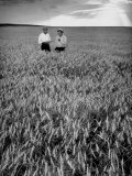 Men Standing in Wheat Field