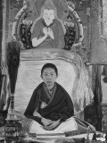 Nine-Year-Old Panchen Lama  at Kumbum Monastery  Wrapped in Shawl-Like Monk&#39;s Robe  Very Serious