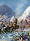 Greeks Defeating Persians at Battle of Salamis