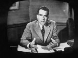 Vice Presidential Candidate Richard M Nixon Making a Speech on Tv