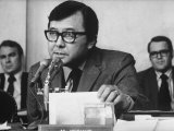 Sen Daniel Inouye Questioning Witness at Watergate Hearings  Others in Bkgrd