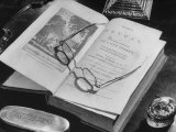 Open Pages of an Old Book  Held Down by a Pair of Steel-Rimmed Spectacles at Mt Pleasant