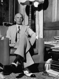 Mohammed Ali Jinnah  Pres of India's Moslem League  Dressed in Western-Style Suit in his Study