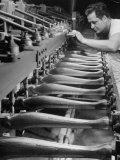 Worker Carving Chair Legs  24 at a Time  at a Tomlinson Furniture Factory