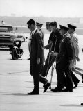 Pres John F Kennedy on Crutches Due to Back Ailment