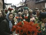 Dior Models in Soviet Union for Officially Sanctioned Fashion Show Visiting Open Air Flower Market