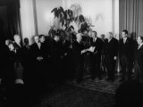President Heinrich Lubke Handing Out Documents to Konrad Adenauer and Cabinet of His Resignation