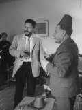 Authors Gerald Durrell and His Brother Lawrence Durrell Chatting at Family Home on Island of Jersey
