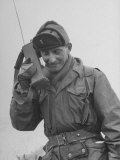 Gi Talking on Communications Radio During the Korean Civil War