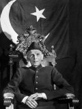 First Gov Gen of Independent Pakistan Mohammed Ali Jinnah Sitting in Front of Pakistani Flag