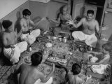 Group of Brahmins Performing Hindu Ceremony of Changing the Sacred Thread