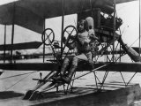 Pilot Albert C Read  Future Us Navy Admiral  at the Controls of Nc-4 Biplane in 1919