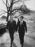 Aide John C Culver Walking with Sen Edward M Kennedy
