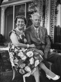 Former President Dwight D Eisenhower and Wife Mamie on Lawn at Home