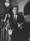 Sen John F Kennedy and His Wife Speaking