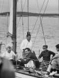 Pres John F Kennedy Sailing with Sen Edmund S Muskie