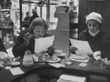 Lunch Customers at Schrafft's Reading News Bulletins Provided by Restaurant During Newspaper Strike