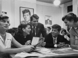 John F Kennedy with Brother and Sisters Working on His Senate Campaign