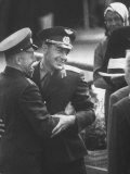 First Flight Spaceman Yuri Gagarin Congratulating Maj Gherman Titov on His Successful Space Filght