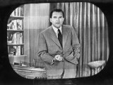 "Richard M Nixon Making Famous ""Checkers"" Speech on Television During the Fund Controversy"