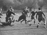 Rhodes Scholar Peter Dawkins of the Us Playing Rugby with Oxford Univ Students