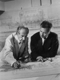 Architect Pietro Belluschi and Walter Gropius Looking over Some Blue Prints