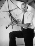 Inventor and NASA Scientist Francis M Rogallo Holding Flexible Wing Used in Space Vehicle Recovery