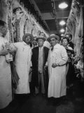 Nikita S Khrushchev on Tour of Meat Packing Plant
