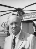 Portrait of Helicopter Designer Igor Sikorsky Standing in Front of One of His Inventions