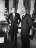 Head of &#39;Food for Peace&#39; Program George S Mcgovern with Pres John F Kennedy at White House