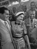 Richard M Nixon and His Wife  Talking with Photographers During the 1952 Convention