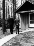 Pres John F Kennedy and Dwight D Eisenhower at Camp David Discussing Cuba