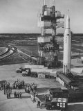 The Juno Ii Rocket Being Prepared for it's Moon Launch