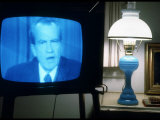 TV Image of Pres Richard M Nixon Announcing His Resignation in Speech from the Oval Office