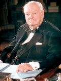 British Politican Sir Winston Churchill  Formal Portrait at Desk
