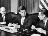 Pres John F Kennedy with Dean Rusk and Robert S Mcnamara