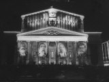 Bolshoi Theater Displaying Portraits of Soviet Heroes