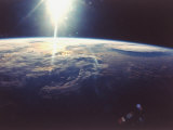 Sunlight over Earth Taken from Space Shuttle Discovery VIII Mission