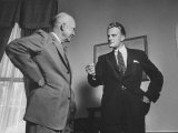 Evangelist Billy Graham Visiting with Pres Dwight Eisenhower at the Wh